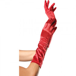 LEG AVENUE GUANTES SATINADOS DE COLOR ROJO